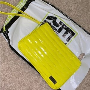 Neon yellow express wristlet
